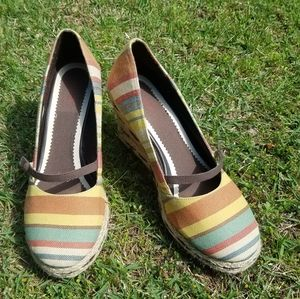 Dexter striped espadrille Mary Jane wedges